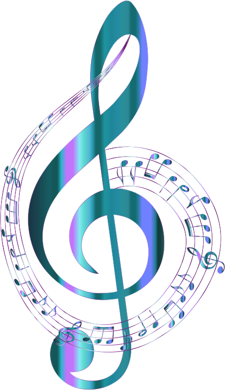 Turquoise Musical Notes Typography No Background