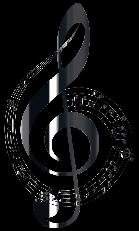 Polished Onyx Musical Notes Typography