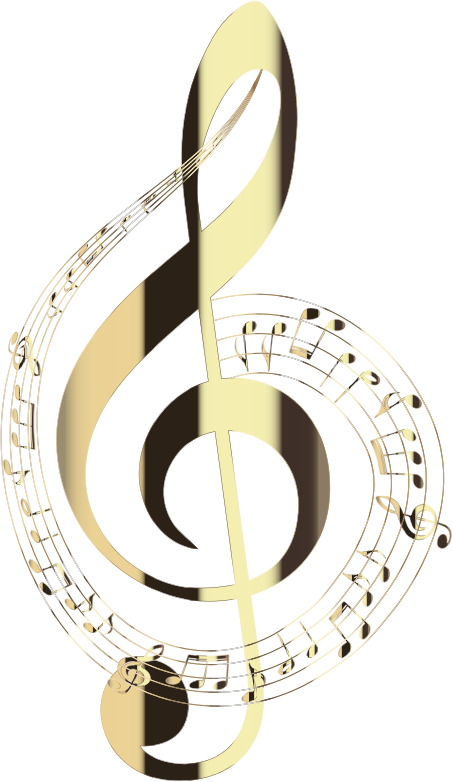 Polished Brass Musical Notes Typography No Background