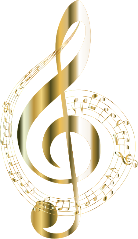 Gold Musical Notes Typography 2 No Background