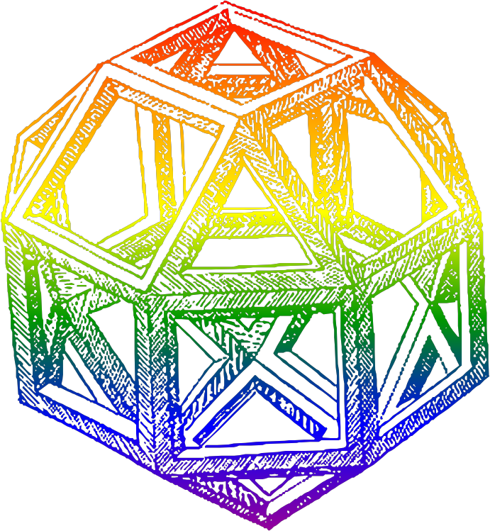 Rhombicuboctahedron, by Leonardo da Vinci, in a Blend of Rainbow Colors