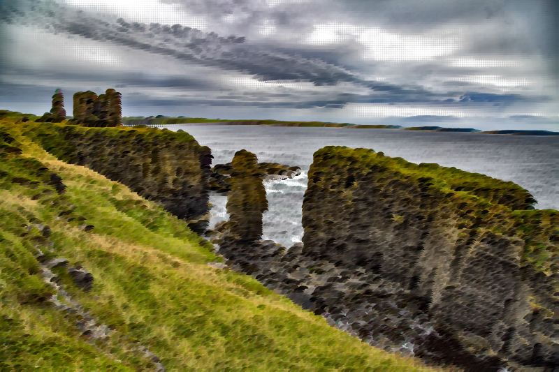 Surreal Sinclair Castle Caithness Scotland
