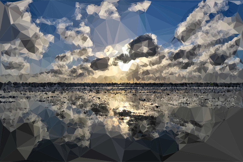 Low Poly Cloudy Beach