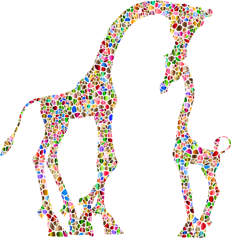 Polychromatic Tiled Mother And Child Giraffe Silhouette Variation 2 No Background