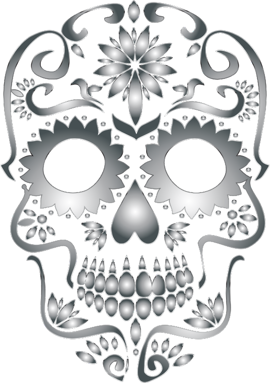 Stainless Steel Sugar Skull Silhouette No Background