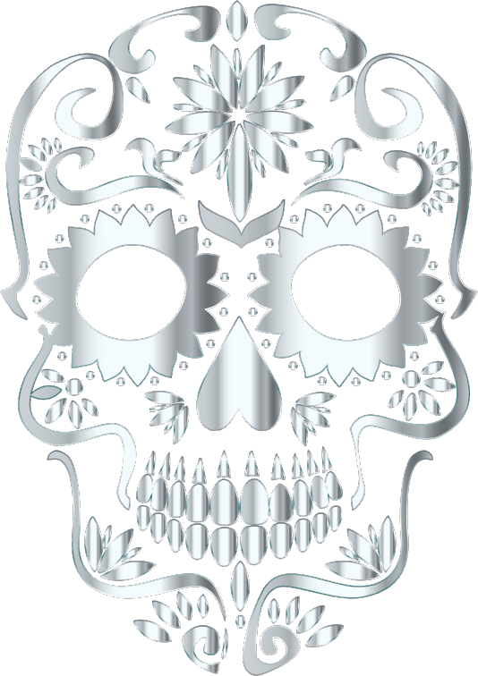 Silver Sugar Skull Silhouette No Background