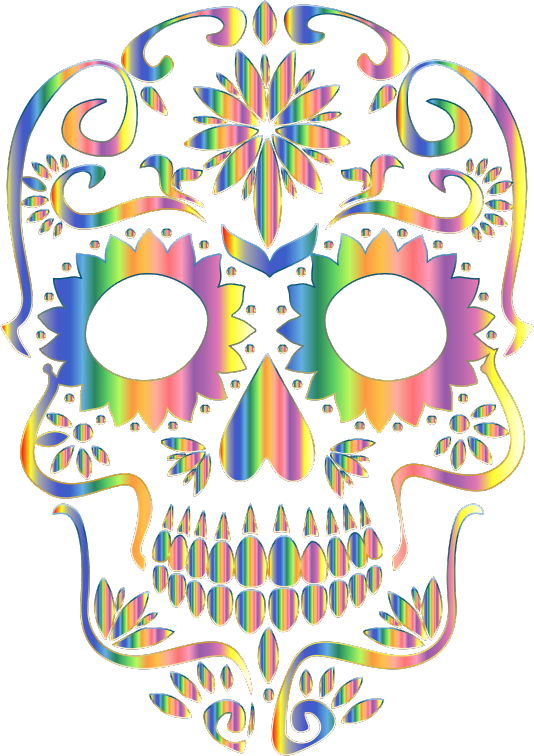 Psychedelic Sugar Skull Silhouette No Background