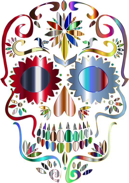 Prismatic Sugar Skull Silhouette 5 No Background