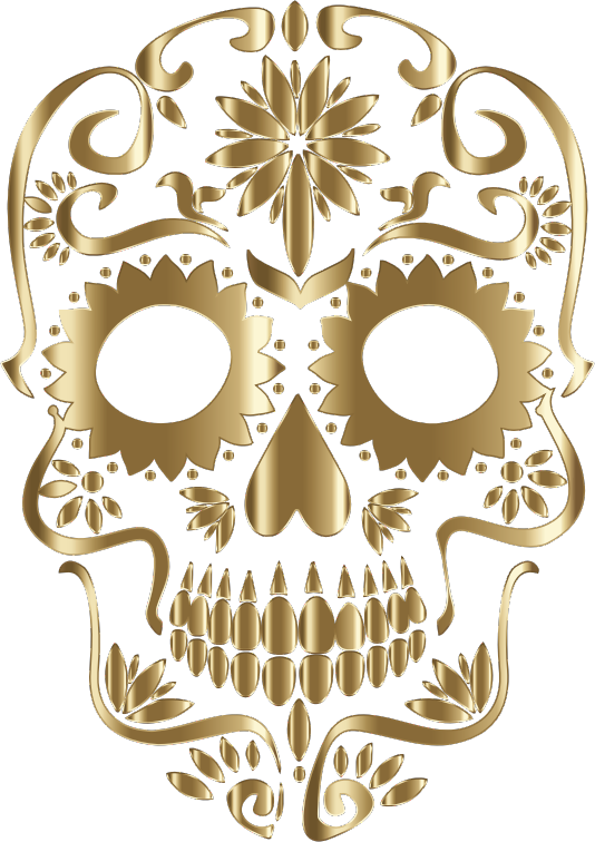 Polished Copper Sugar Skull Silhouette No Background