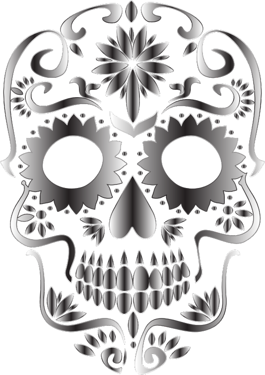 Monochrome Sugar Skull Silhouette No Background