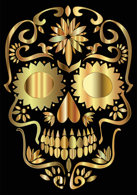 Golden Sugar Skull Silhouette