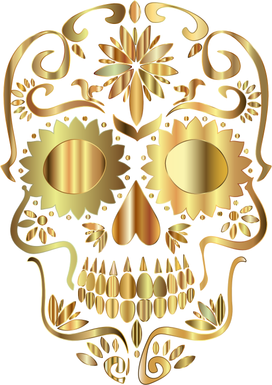 Golden Sugar Skull Silhouette No Background