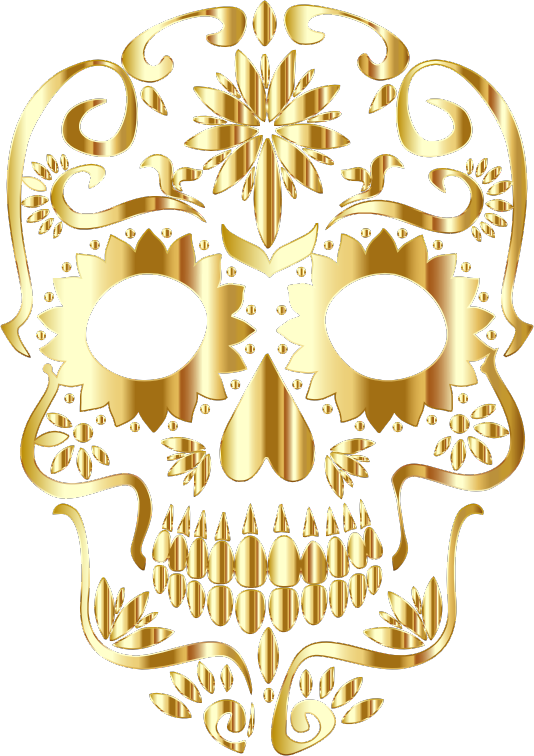 Gold Sugar Skull Silhouette No Background