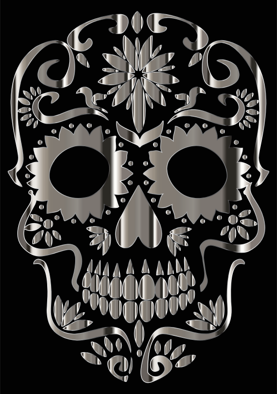 Chrome Sugar Skull Silhouette