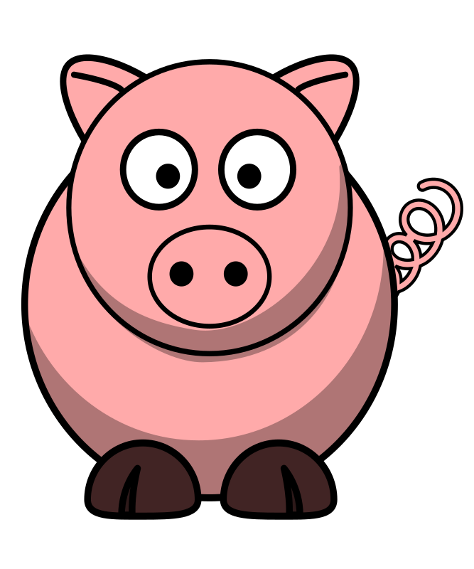 Pig Round Cartoon