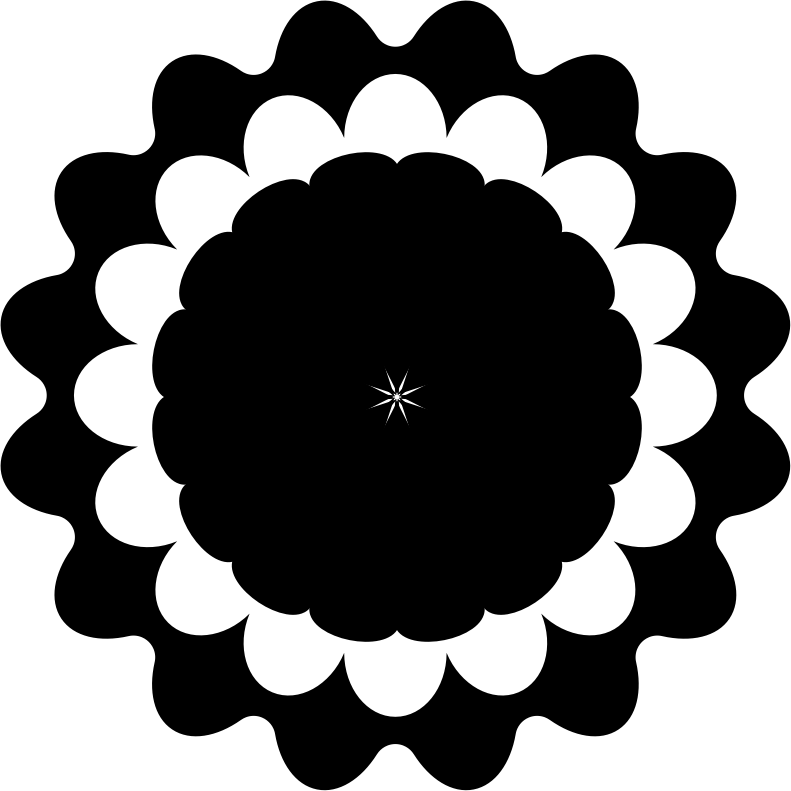 Flower Icon - Black and White