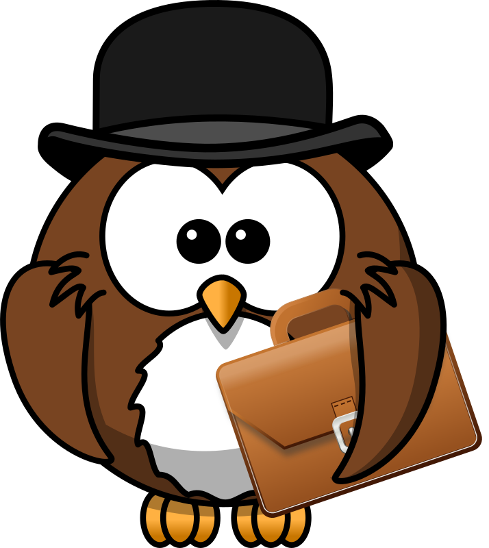 Owl with hat and briefcase