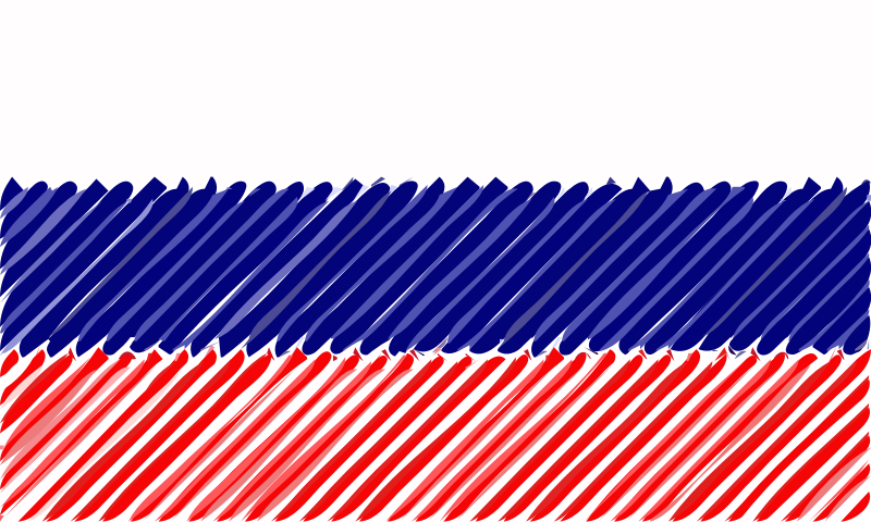 Russia flag linear