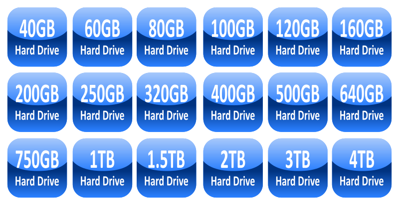 Hard drive capacity icons