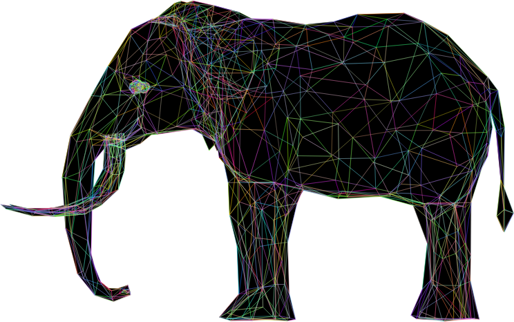 Prismatic Low Poly 3D Elephant Wireframe