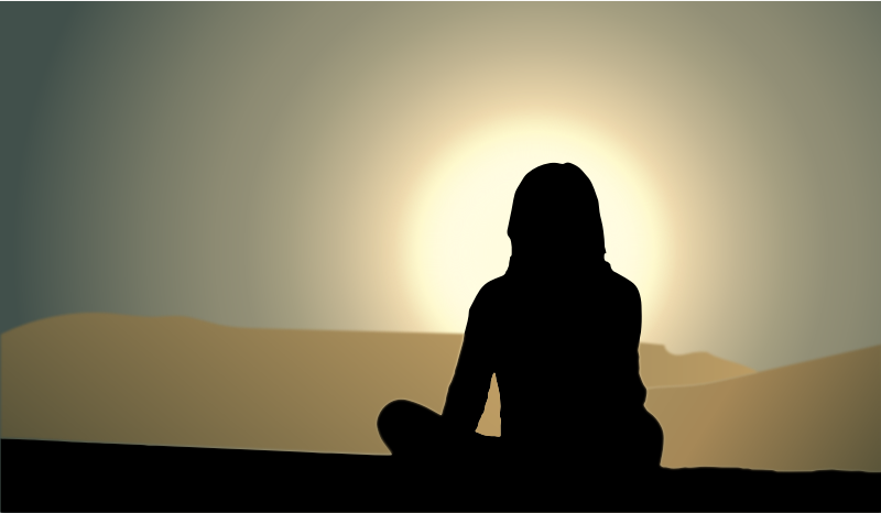 Woman Sitting Sunset Silhouette
