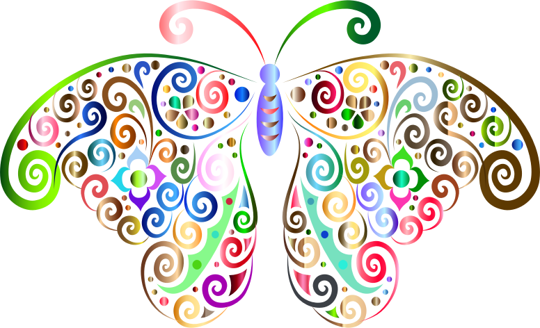 Prismatic Floral Flourish Butterfly Silhouette 3 No Background