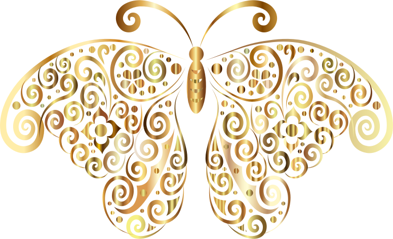 Prismatic Floral Flourish Butterfly Silhouette 4 No Background