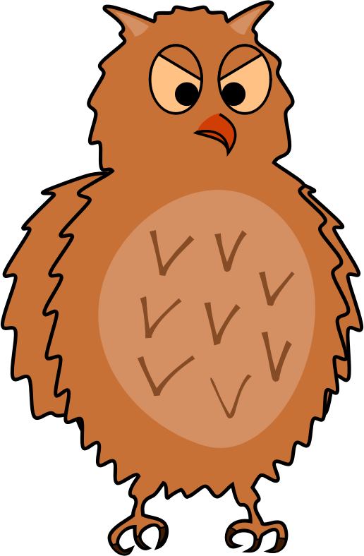 Enraged owl - side view