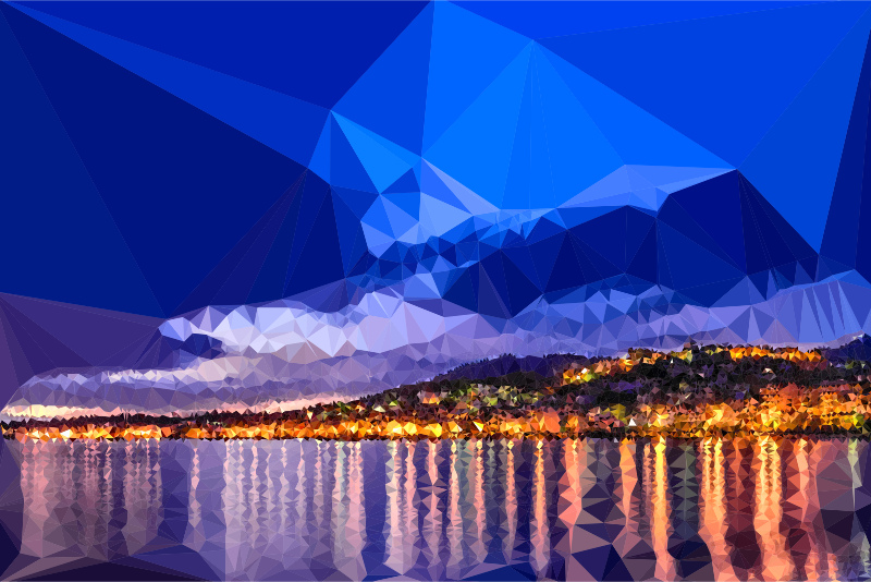 Low Poly Dawn In Calabria Italy