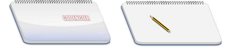 Large notebook with pencil