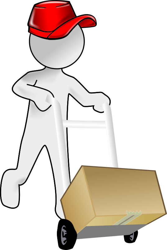 Bubble Person carrying a packet using a crate