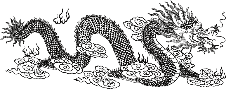 Asian Dragon Line Art