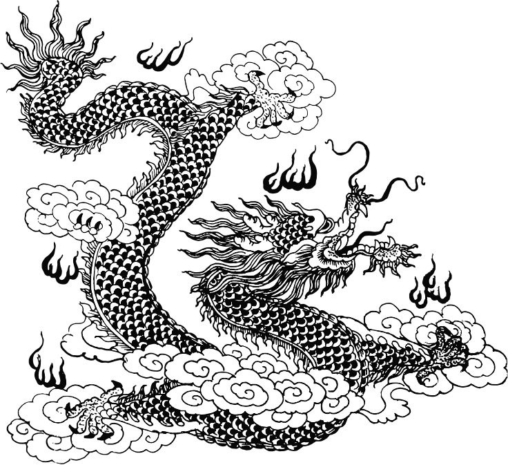 Asian Dragon Line Art 2