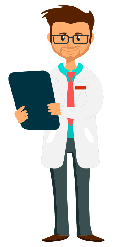 Doctor holding clipboard - fixed arm and whiter coat