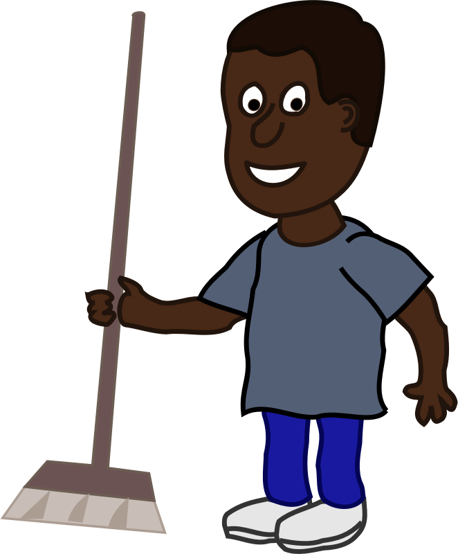 African Man with Broom