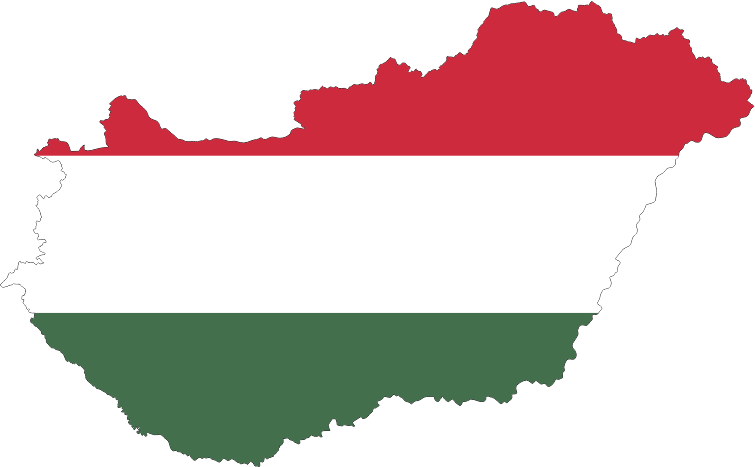 Hungary Map Flag With Stroke