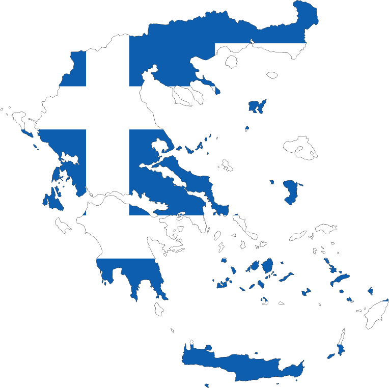 Greece Map Flag With Stroke