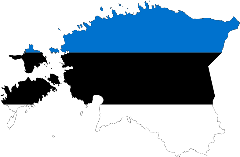 Estonia Map Flag With Stroke