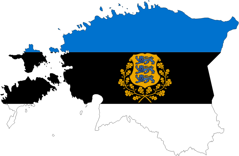 Estonia Map Flag With Stroke And Coat Of Arms