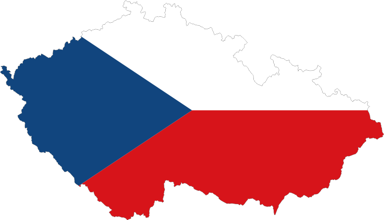 Czech Republic Map Flag With Stroke