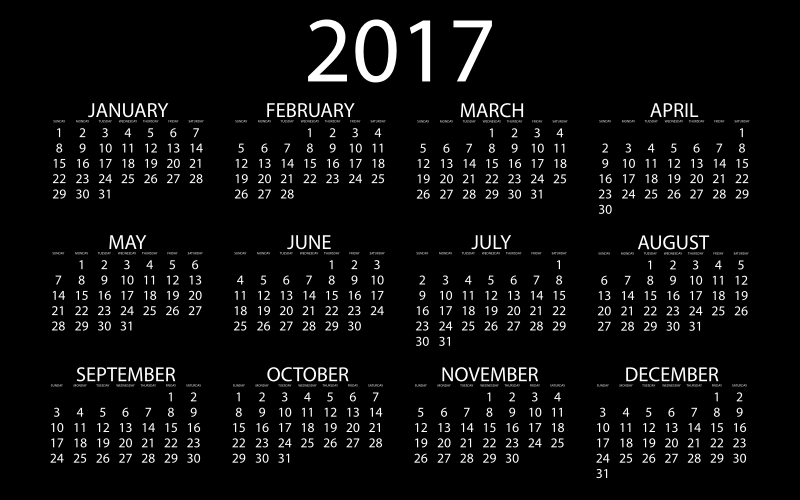 2017 Calendar Inverse With Black Background