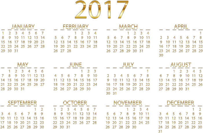 2017 Calendar Gold No Background