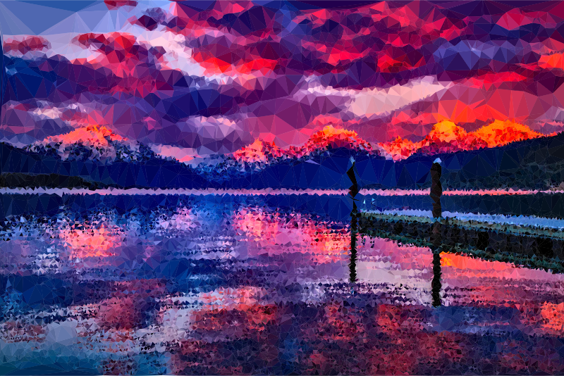 Low Poly Lake McDonald Dusk