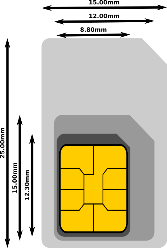 Cellular Sim Card Estimated Dimensions