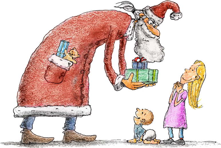 Santa Giving Children Presents