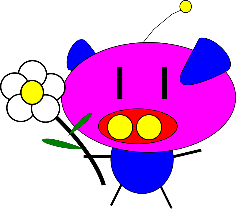 pig pig with flower