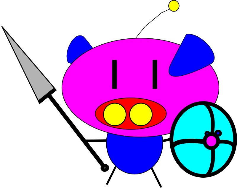 pig pig with spear and shield