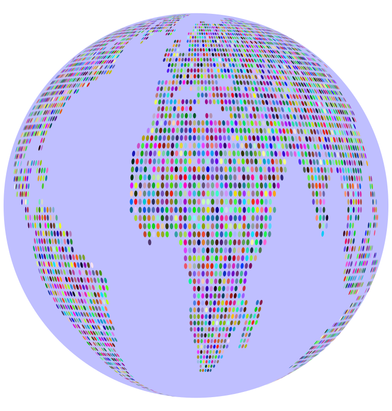 Prismatic World Map Dots 3 Globe
