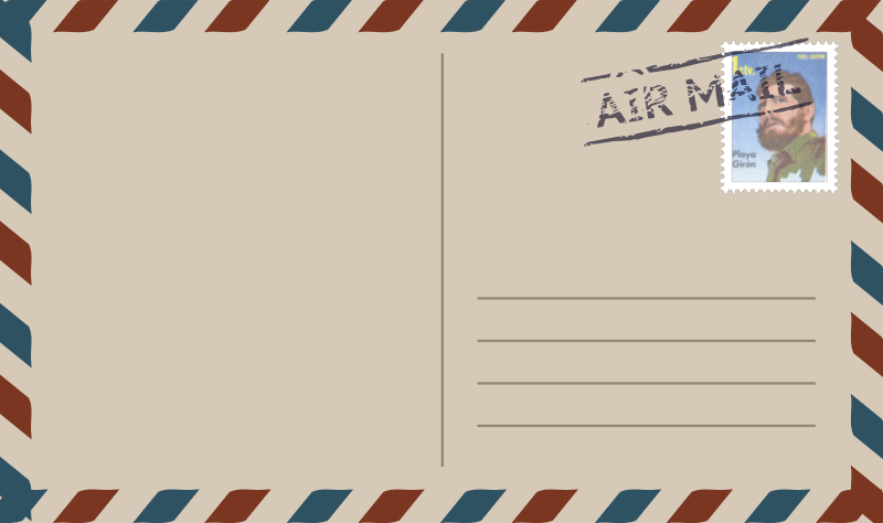 postcard airmail with stamp