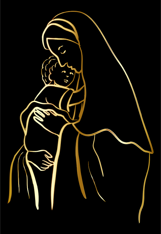 Gold Virgin Mary And Baby Jesus
